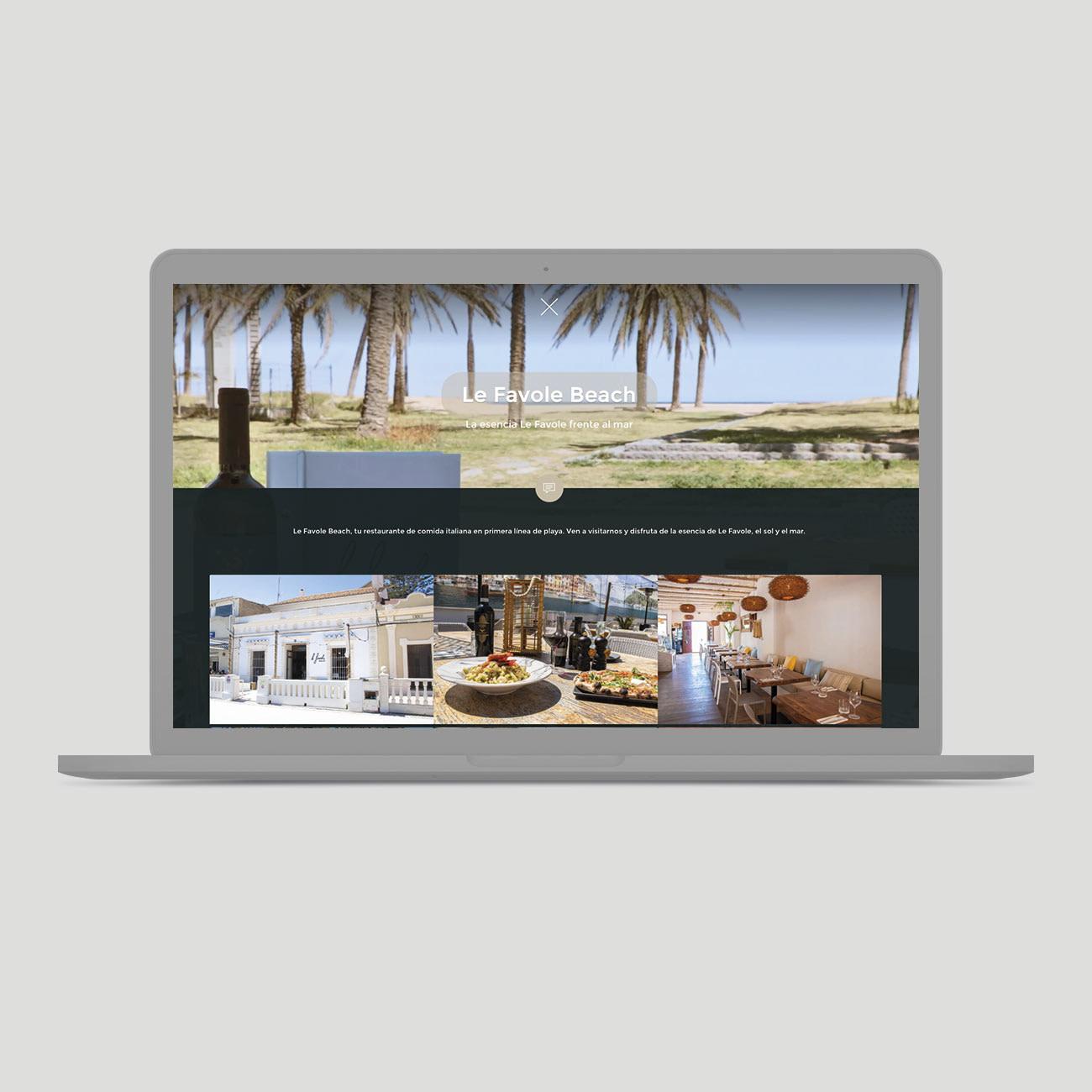 Web Le Favole Beach RIstorante por Creatias Estudio
